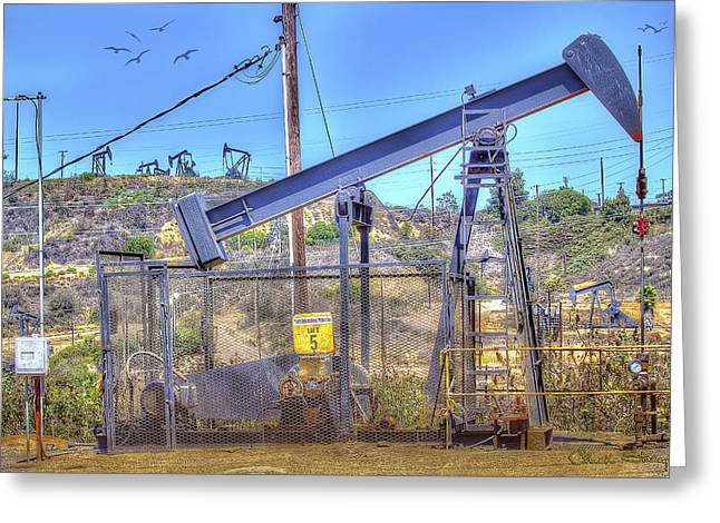 Pumping Station Greeting Cards - Oil Rig Greeting Card by Chuck Staley