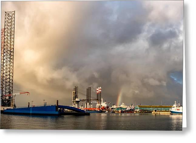 Sea Platform Greeting Cards - Oil rig in Esbjerg harbor Denmark Greeting Card by Frank Bach