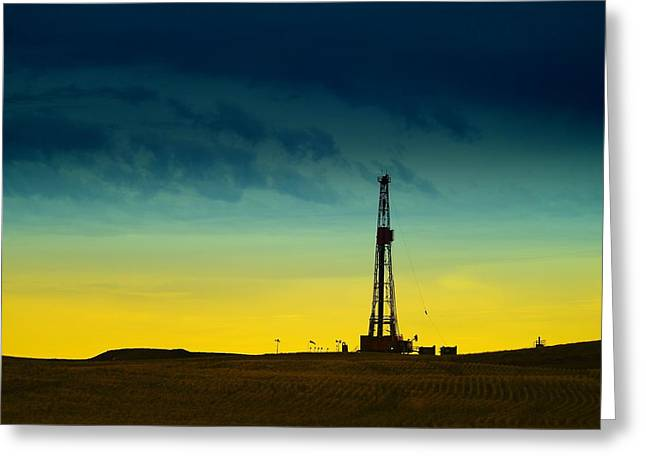 Gas Tower Greeting Cards - Oil Rig In The Spring Greeting Card by Jeff  Swan