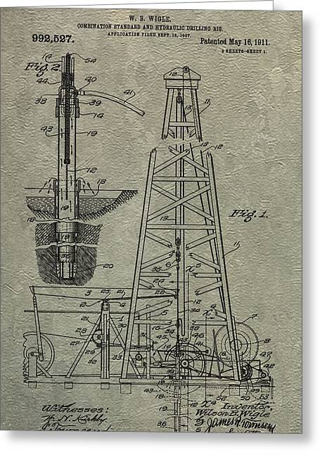Oil Platform Greeting Cards - Oil Rig Patent Greeting Card by Dan Sproul