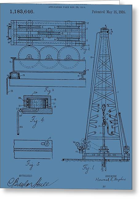 Oil Platform Greeting Cards - Oil Rig Patent On Blue Greeting Card by Dan Sproul