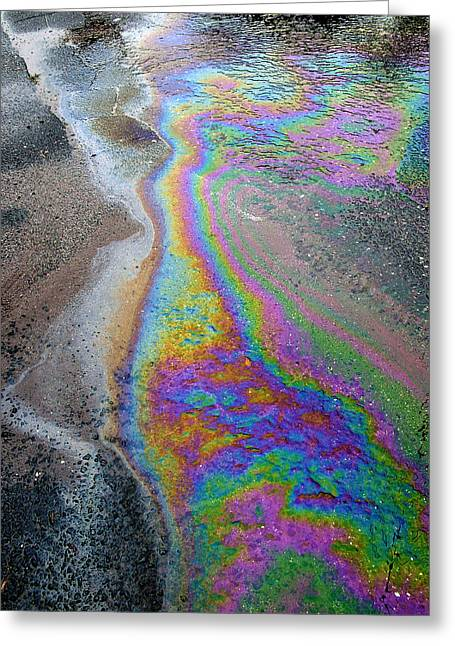 Oil Slick Greeting Cards - Oil Slick On Water Greeting Card by Panoramic Images