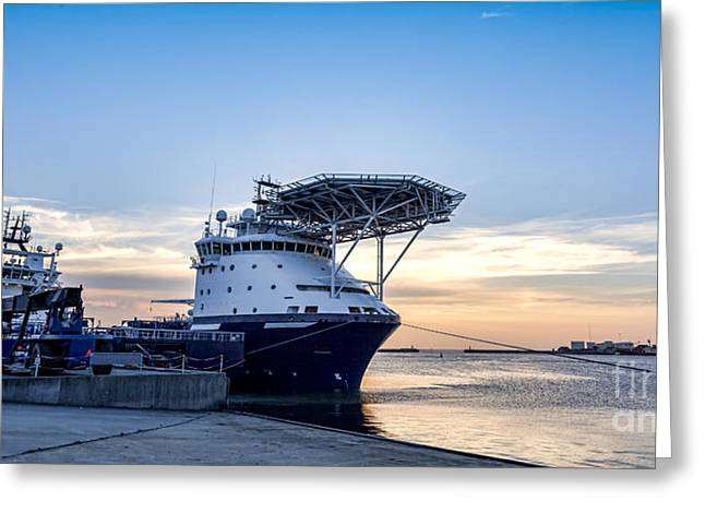 Sea Platform Greeting Cards - Oil Supply ships in Esbjerg harbor Greeting Card by Frank Bach