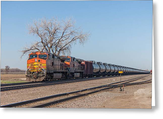 Bnsf Greeting Cards - BNSF Oil Train in Dilworth Minnesota Greeting Card by Steve Boyko