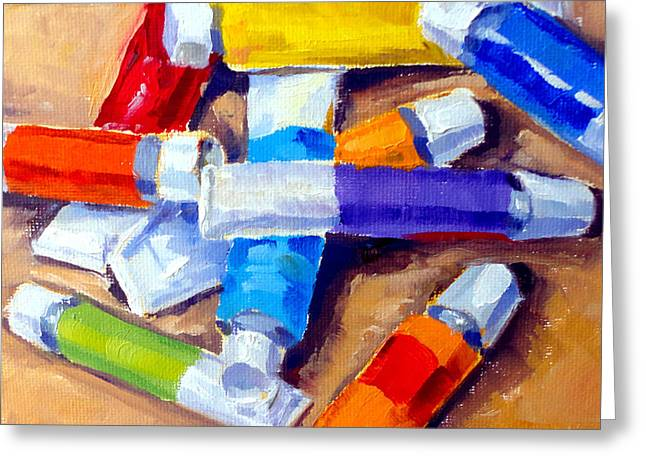 Mountain Climbing Print Paintings Greeting Cards - Oil Tubes I Greeting Card by Mark Hartung