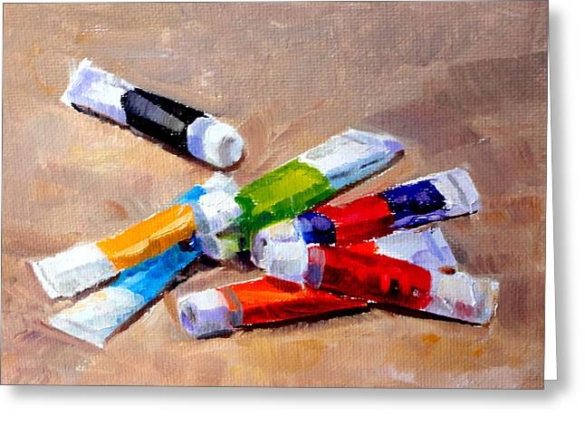Mountain Climbing Art Print Paintings Greeting Cards - Oil Tubes II Greeting Card by Mark Hartung