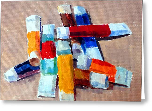 Mountain Climbing Art Print Paintings Greeting Cards - Oil Tubes III Greeting Card by Mark Hartung