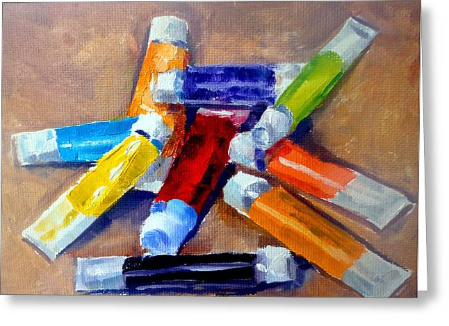 Mountain Climbing Print Paintings Greeting Cards - Oil Tubes IV Greeting Card by Mark Hartung
