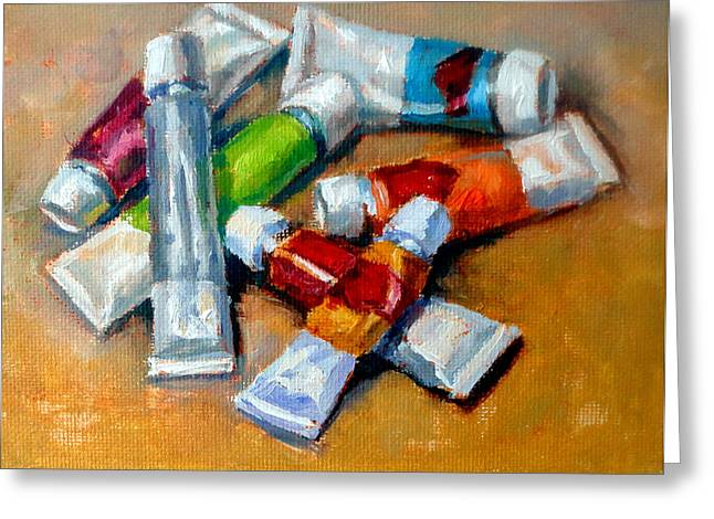 Mountain Climbing Art Print Paintings Greeting Cards - Oil Tubes V Greeting Card by Mark Hartung