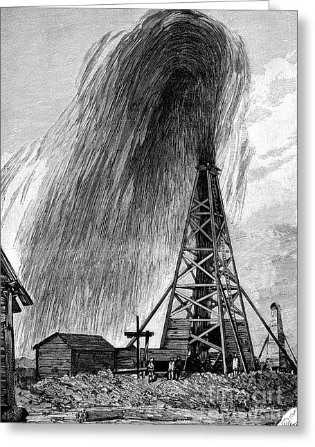 Flowing Wells Greeting Cards - Oil Well, 19th Century Greeting Card by Spl