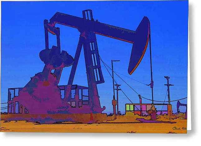 Liquid Gold Greeting Cards - Oil Well Greeting Card by Chuck Staley
