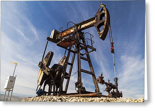 Oil Well  Greeting Card by Cristina-Velina Ion