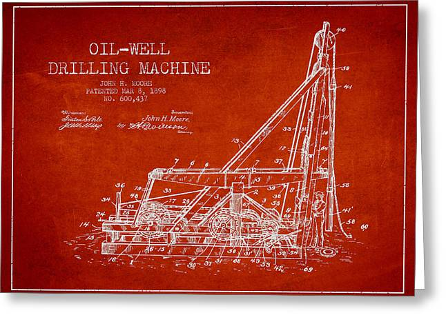 Wells Greeting Cards - Oil Well drilling Machine Patent from 1898 - Red Greeting Card by Aged Pixel