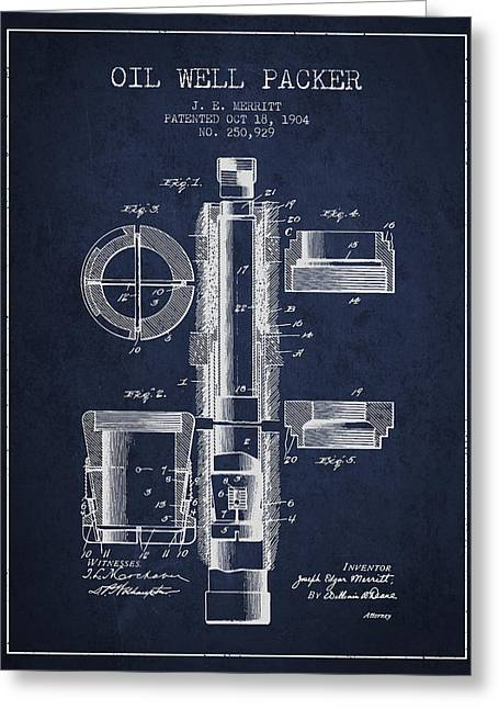 Universities Drawings Greeting Cards - Oil Well Packer patent from 1904 - Navy Blue Greeting Card by Aged Pixel