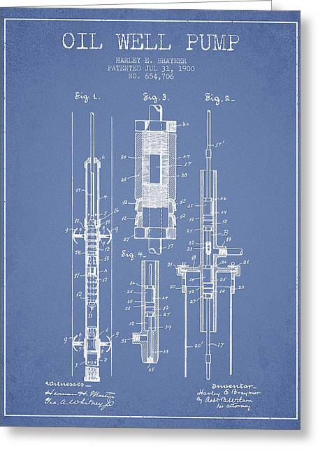 Pumpjack Greeting Cards - Oil Well Pump Patent From 1900 - Light Blue Greeting Card by Aged Pixel