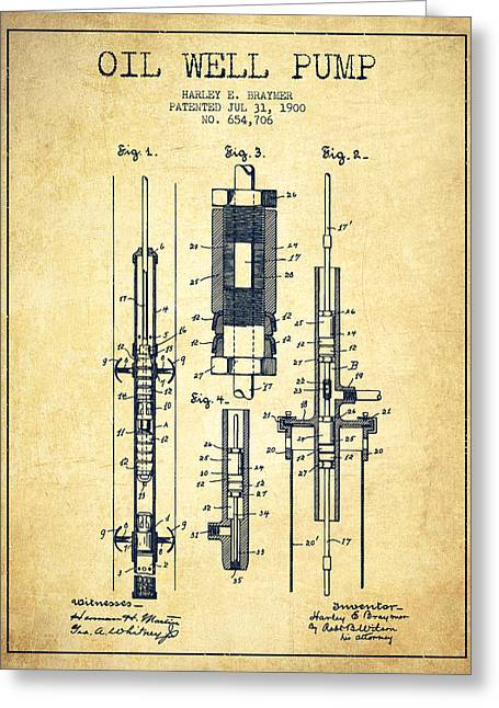 Pumpjack Greeting Cards - Oil Well Pump Patent From 1900 - Vintage Greeting Card by Aged Pixel