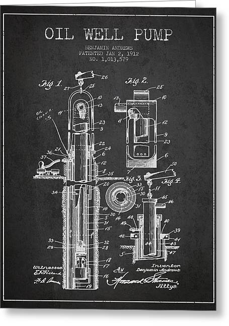 American Oil Wells Greeting Cards - Oil Well Pump Patent From 1912 - Dark Greeting Card by Aged Pixel