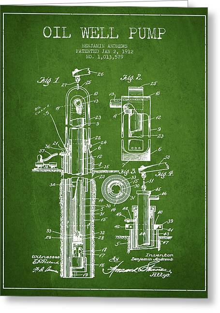 Pumpjack Greeting Cards - Oil Well Pump Patent From 1912 - Green Greeting Card by Aged Pixel