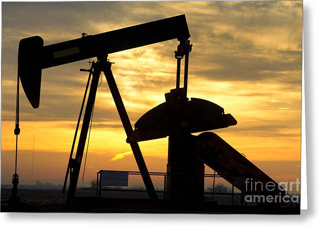 Insogna Greeting Cards - Oil Well Pump Sunrise Greeting Card by James BO  Insogna