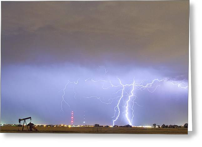 Storm Prints Greeting Cards - Oil Well Pumpjack Thunderstorm Greeting Card by James BO  Insogna