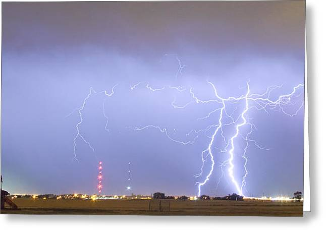 Oil Well Pumpjack Thunderstorm Panorama Greeting Card by James BO  Insogna