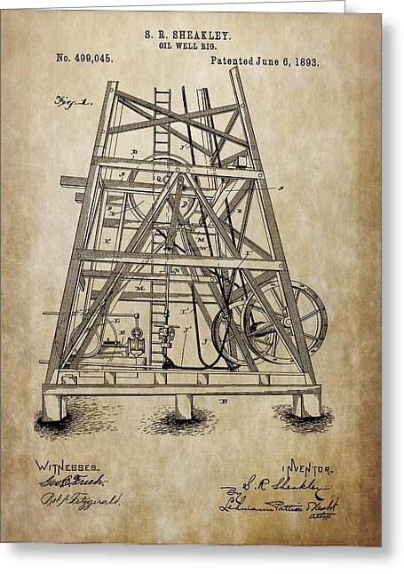 Crisis Mixed Media Greeting Cards - Oil Well Rig Greeting Card by Dan Sproul