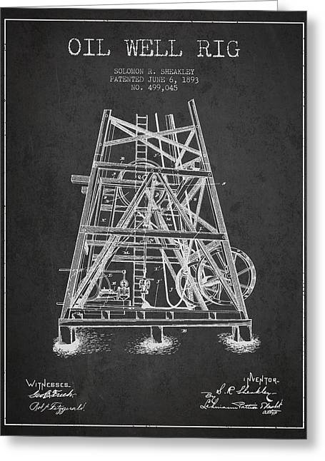 Oil Industry Greeting Cards - Oil Well Rig Patent from 1893 - Dark Greeting Card by Aged Pixel