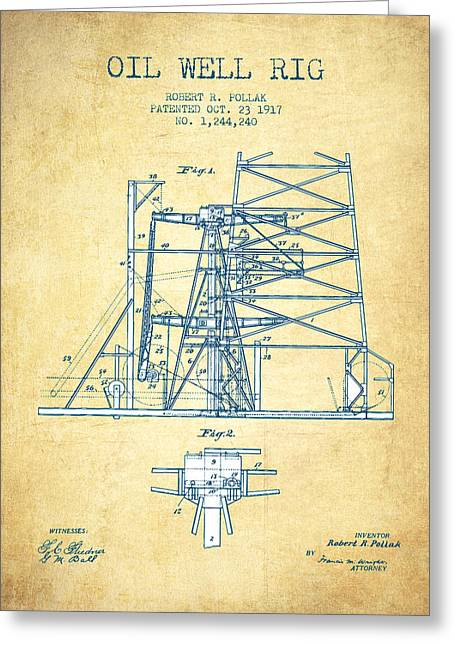 Oil Pump Greeting Cards - Oil Well Rig Patent from 1917- Vintage Paper Greeting Card by Aged Pixel