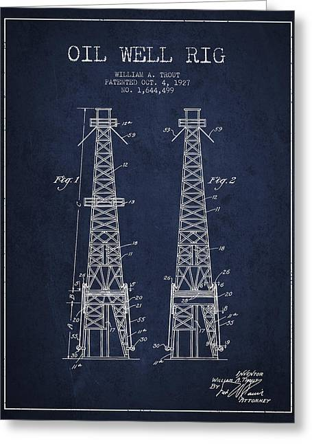 Pumpjack Greeting Cards - Oil Well Rig Patent from 1927 - Navy Blue Greeting Card by Aged Pixel