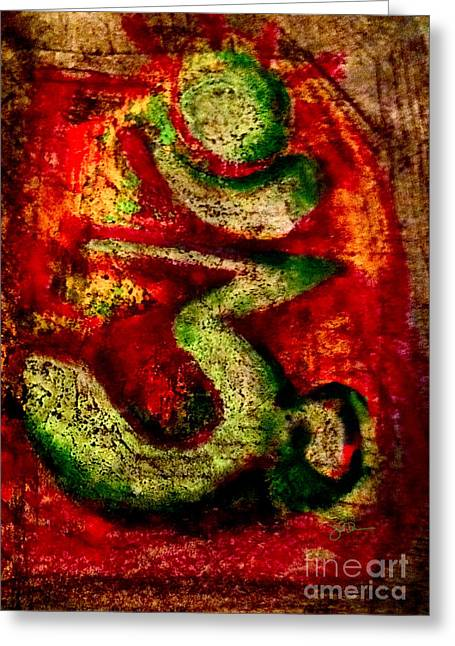 Illuminate Pastels Greeting Cards - Oiled Om Greeting Card by James Dames