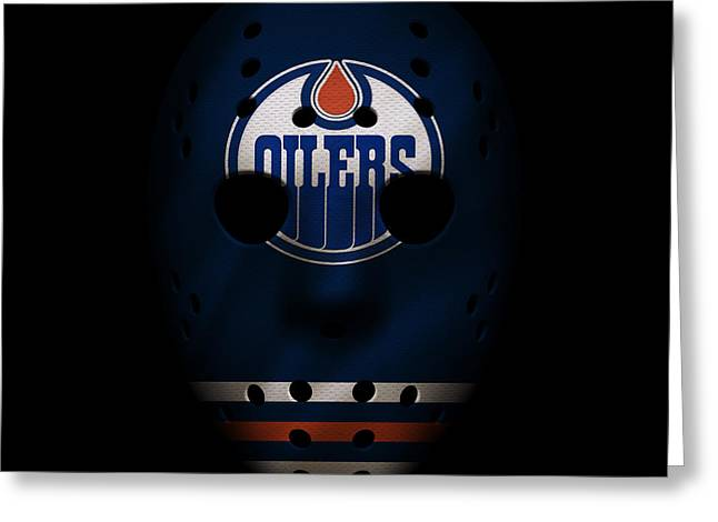 Player Greeting Cards - Oilers Jersey Mask Greeting Card by Joe Hamilton