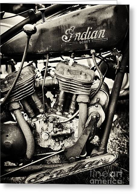 Gas Tank Greeting Cards - Oily Old Indian Greeting Card by Tim Gainey