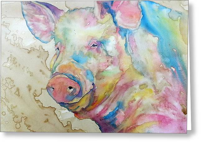 Salmon Paintings Greeting Cards - Oink Greeting Card by Christy  Freeman