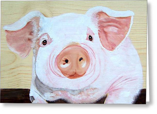 Piglets Greeting Cards - Oink Greeting Card by Debbie LaFrance