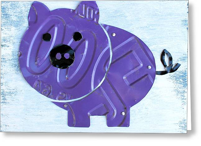 Road Trip Greeting Cards - Oink the Pig License Plate Art Greeting Card by Design Turnpike
