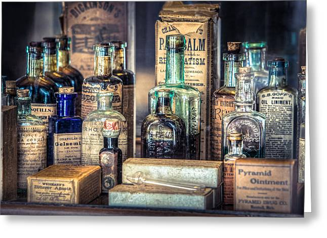 Editor Photographs Greeting Cards - Ointments Tonics and Potions - A 19th Century Apothecary Greeting Card by Gary Heller