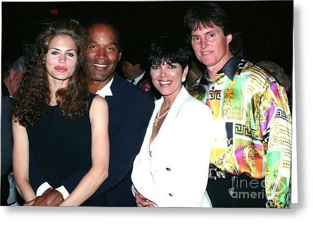 Kim Kardashian Photographs Greeting Cards - O.J. Simpson - Paula Barbieri - Kris and Bruce Jenner party in Palm Springs Greeting Card by Gary Kaplan