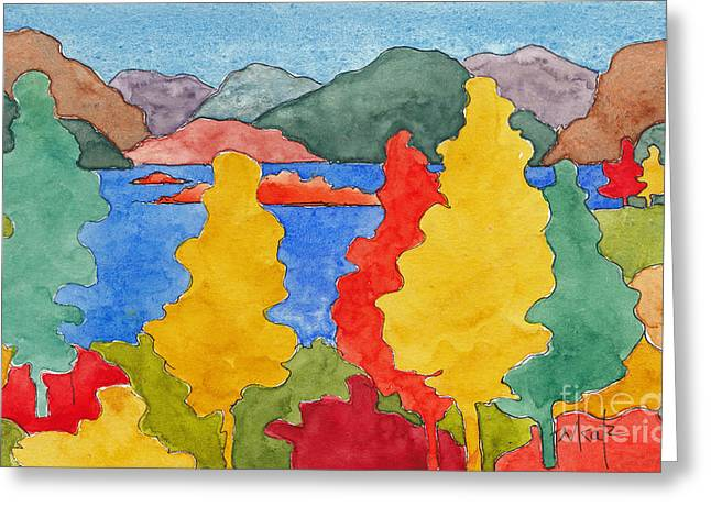Red And Gold Leaves Greeting Cards - Okanagan Autumn Greeting Card by Pat Katz
