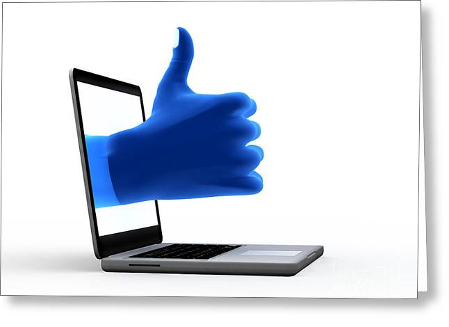 Social System Greeting Cards - Okay gesture Blue hand from screen Greeting Card by Michal Bednarek