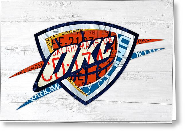 Basketball Team Greeting Cards - OKC Thunder Basketball Team Retro Logo Vintage Recycled Oklahoma License Plate Art Greeting Card by Design Turnpike
