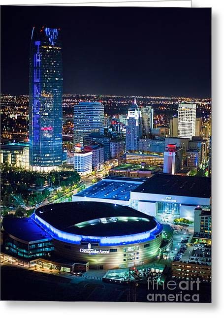 Oklahoma City Thunder Greeting Cards - Okc0054 Greeting Card by Cooper Ross