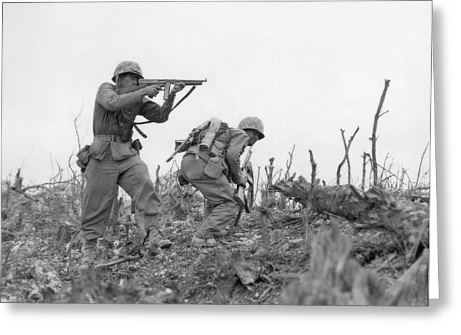 Tommy Gun Greeting Cards - Okinawa, 1945 Greeting Card by Granger