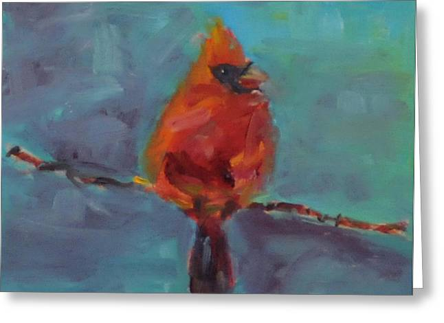 Oklahoma Cardinal Greeting Card by Susie Jernigan