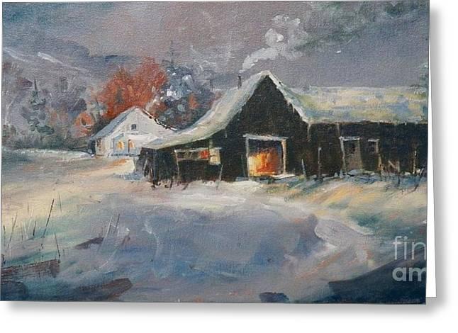 Oklahoma Christmas Eve Greeting Card by Micheal Jones
