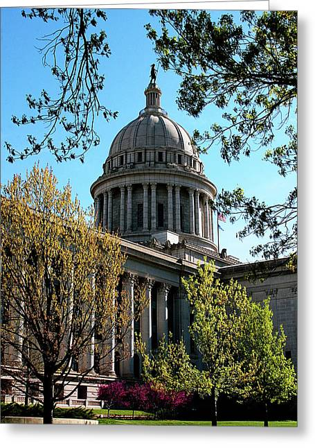 Oklahoma Landscape Greeting Cards - Oklahoma City Capitol in the spring Greeting Card by Toni Hopper