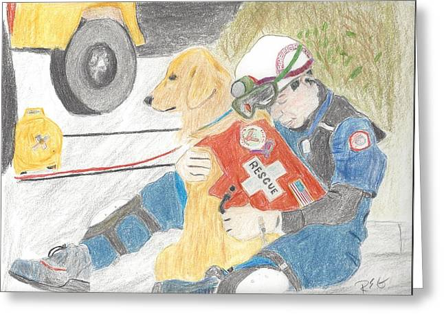 Rescue Drawings Greeting Cards - Oklahoma City Rescue 2 Greeting Card by Richard Gaugh