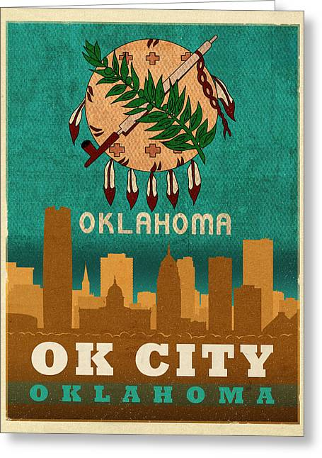 Oklahoma Greeting Cards - Oklahoma City Skyline Flag of Oklahoma Art Poster Series 002 Greeting Card by Design Turnpike