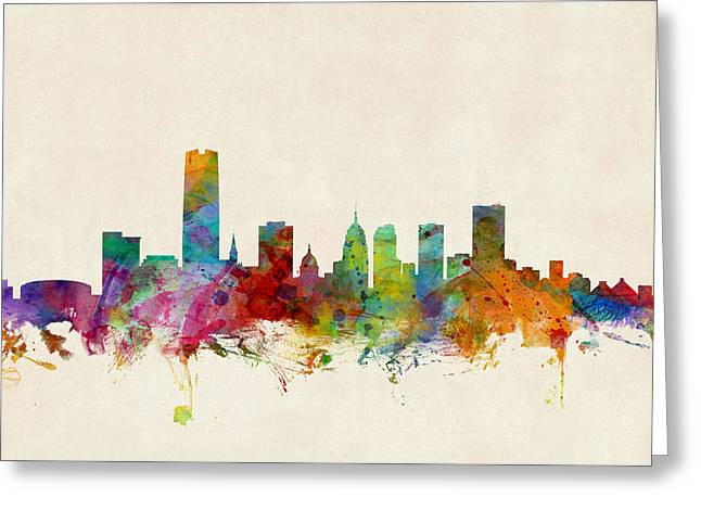 Skyline Greeting Cards - Oklahoma City Skyline Greeting Card by Michael Tompsett