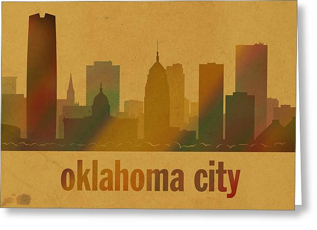 Oklahoma Greeting Cards - Oklahoma City Skyline Watercolor On Parchment Greeting Card by Design Turnpike