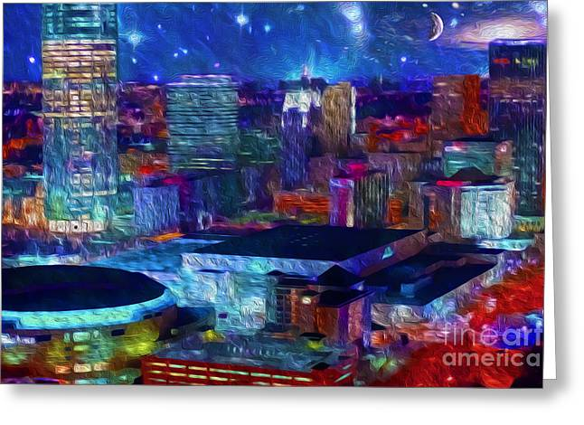 Oklahoma City Thunder Greeting Cards - Oklahoma City Starry Night Greeting Card by Cooper Ross